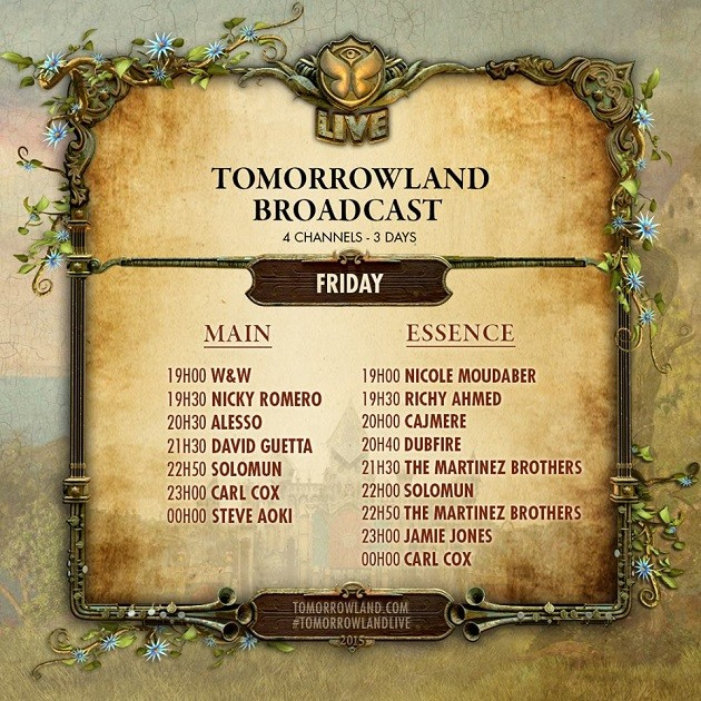 Tomorrowland 2015 Livestream Timetable