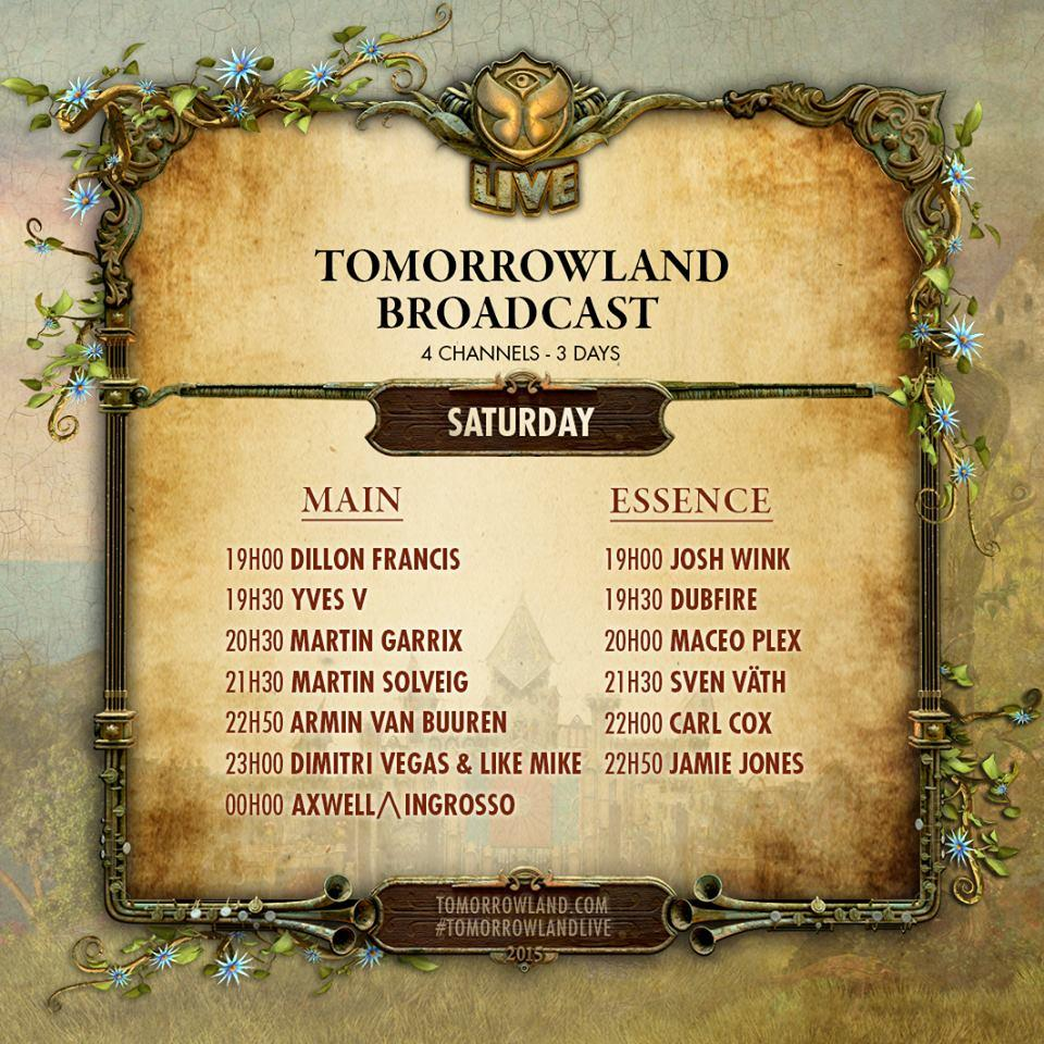 Tomorrowland 2015 Livestream Timetable day2