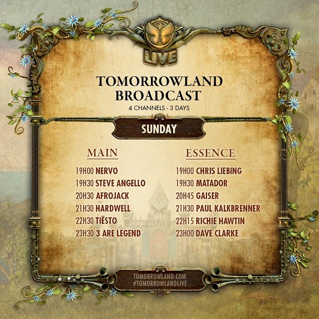 Tomorrowland Livestream 2015 timetable
