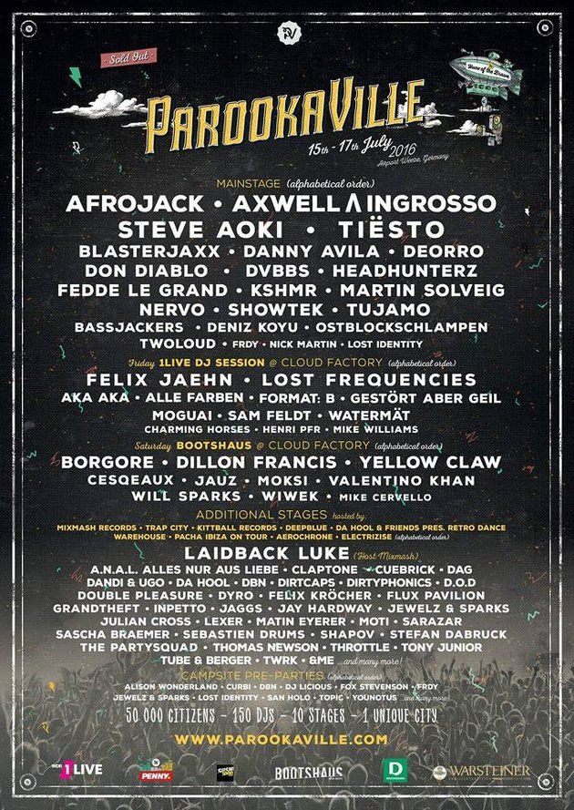 Parookaville 2016 - Line Up