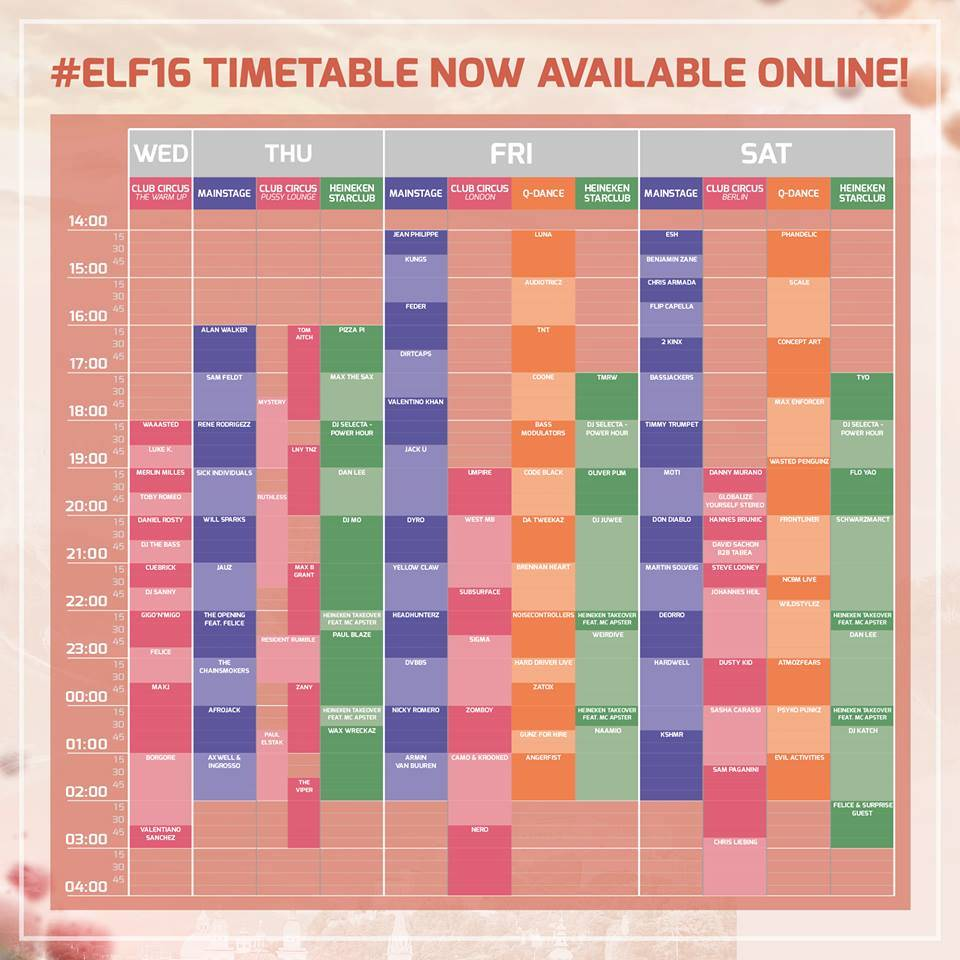 ELF 2016 Timetable