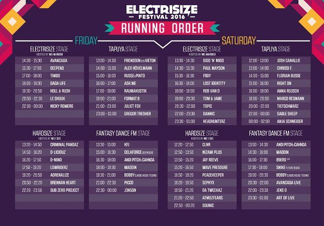 Electrisize 2016 Timetable