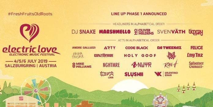 Electric Love Festival 2019 Line Up Phase 1