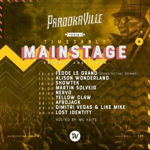 Parookaville 2019 Timetable Freitag Mainstage