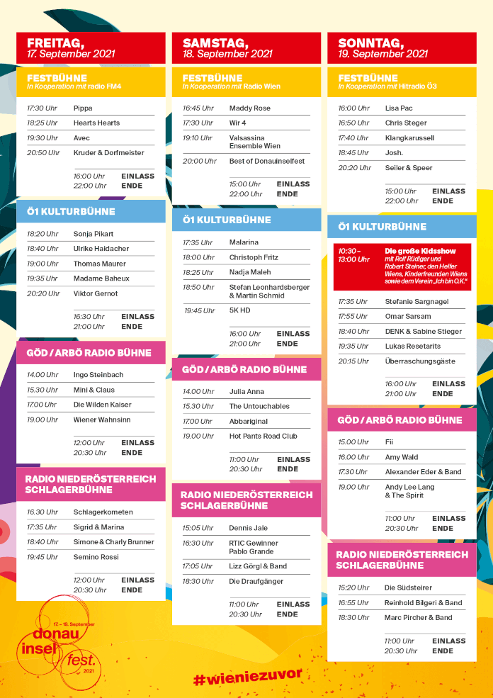 Donauinselfest 2021 Time Table